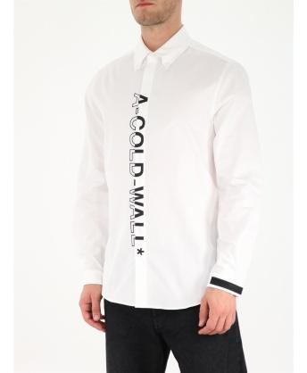 Camicia bianca con maxi logo verticale