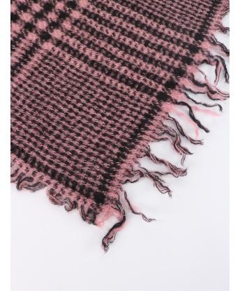 Sciarpa in lana e cachemire motivo tartan rosa