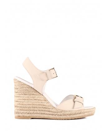 Sandalo zeppa con fibbia bianco
