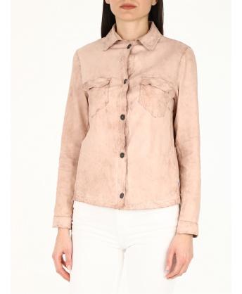 Camicia in pelle rosa