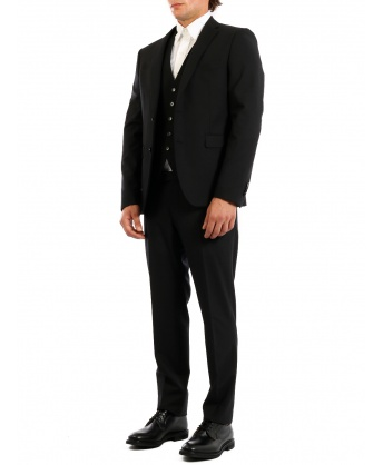 Three-piece Suit in Black Wool