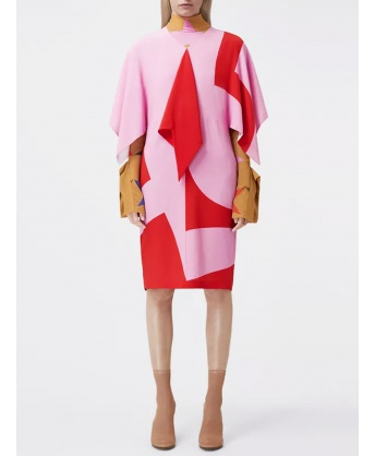 Red and pink crepe de chine silk dress