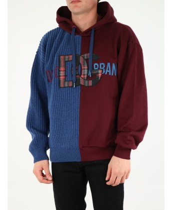 Sweatshirt in jersey and wool with hood and patch