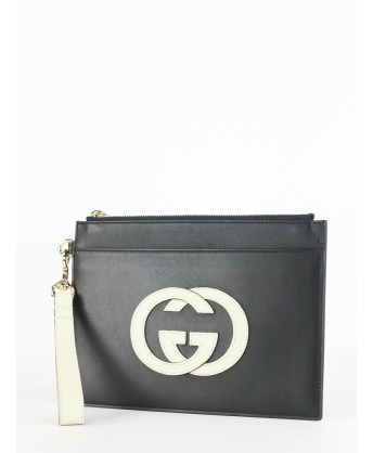 Black leather clutch bag with logo