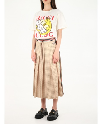 Pleated midi skirt with GG