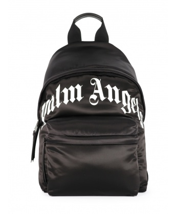 Black backpack with logo print