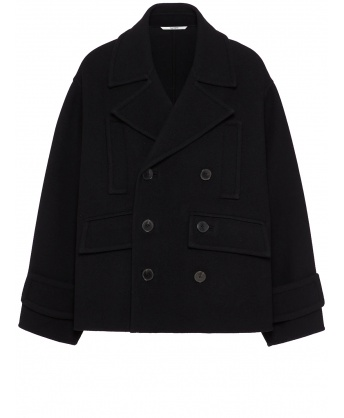 Double-breasted peacoat in black double wool