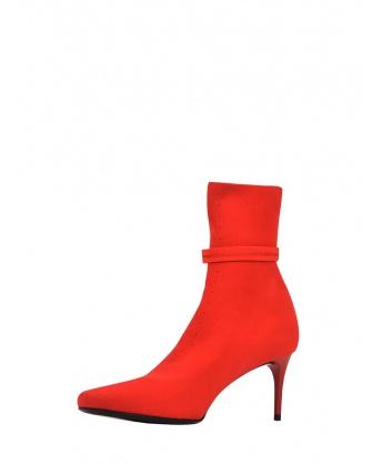 6 cm Knit Stretch Boots Red