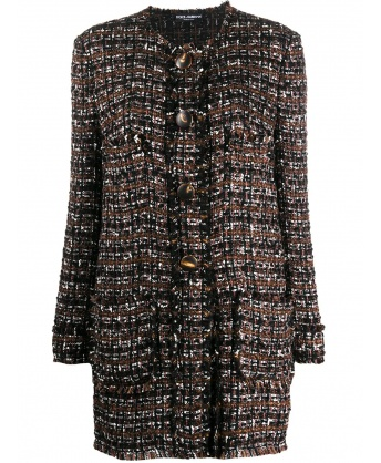 Tweed coat with horn buttons
