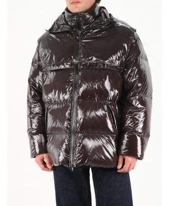 Brown glossy short down jacket