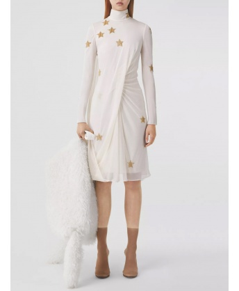 Silk viscose dress with gold stars
