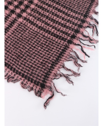 Tartan wool and cashmere scarf pink