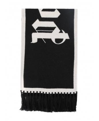 Wool scarf with maxi logo