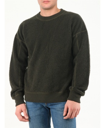 Military green reversible sweater