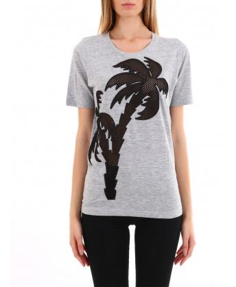 Gray cotton palm t-shirt