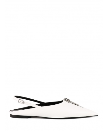 Slingback with zip white