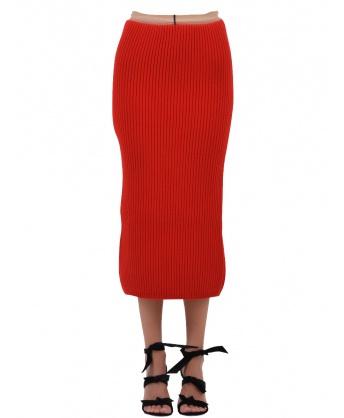 Rib-knit Midi Skirt