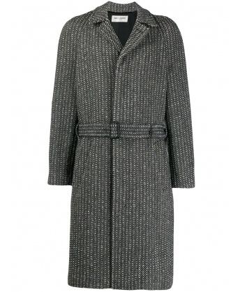 Belted Overcoat in Wool Twill