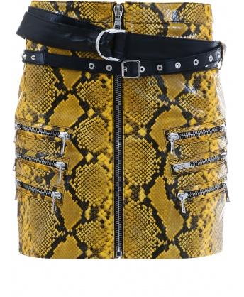 Yellow Python Leather Skirt