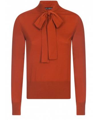 Wool sweater with bow