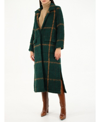 Green checked coat