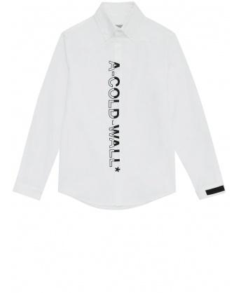 White shirt with maxi vertical logo