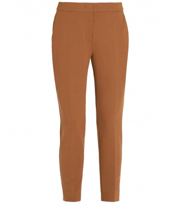 Brown stretch slim fit trousers