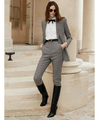 Houndstooth high-waisted trousers