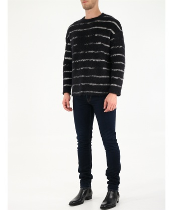 Pullover with interrupted stripe motif