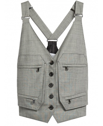 Wool Grisaille Waistcoat Gray
