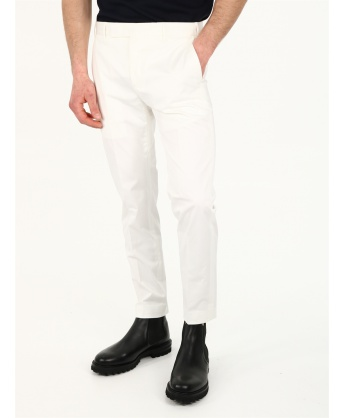 Slim fit white cotton trousers