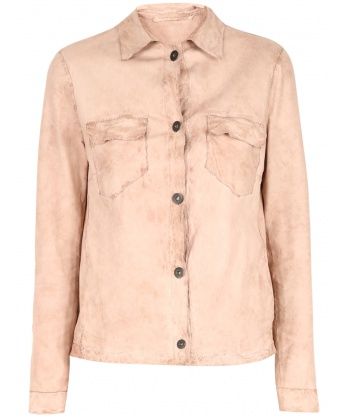 Powder pink leather shirt